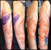 Process of a freehand Detroit sports themed 3/4 sleeve project