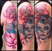 Day of the dead lady with Magnolias